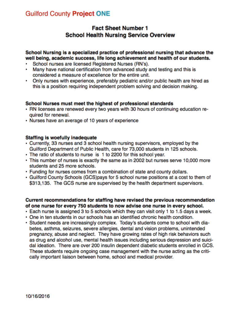 Fact Sheet #1: School Health Nursing Service Overview cover
