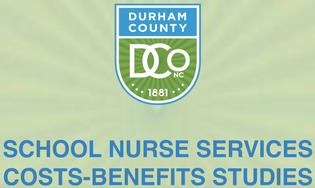 Durham County Study of School Nurse Cost vs Benefit cover